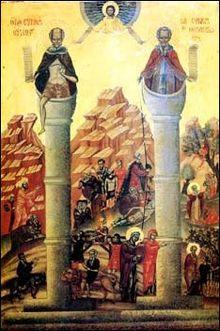 24 mai : Saint Syméon le Stylite (le jeune) 220px-Simeon_Stylites_stepping_down