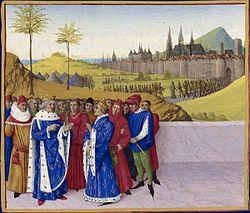 28 mars : Saint Gontran de Bourgogne 250px-Entretien_entre_saint_Gontran_et_Childebert_II