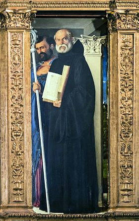 11 juillet Saint Benoît de Nursie Frari__28Venice_29_-_Sacristy_-_triptych_by_Giovanni_Bellini_-_Saint_Benedict_of_Nursia_and_Saint_Ma