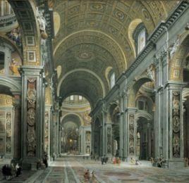 18 novembre : Dédicace des basiliques St Pierre et St Paul  Giovanni_Paolo_Panini_-_Interior_of_St__Peter_27s_2C_Rome0
