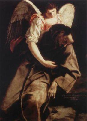 4 octobre saint François d'Assise Orazio_Gentileschi_-_St_Francis_and_the_Angel_-_WGA08584