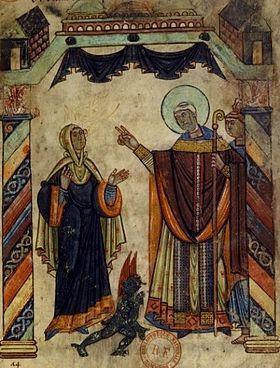 1er mars Saint Aubin d'Angers Saint_Aubin_exorcisant_une_femme